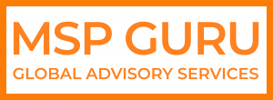 The MSP GURU logo is the colour orange, a rectangle, with MSP GURU inside the box at the top, under it says Global Advisory Services, on a white background.