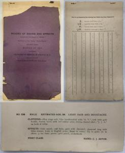 Very rare Record of Bodies and Effects for the passengers and crew of the S.S. Titanic, to include Bodies Buried at Sea and Bodies Delivered at Morgue in Halifax ($10,300).