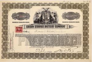 Stock certificate for the Edison Storage Battery Co. (West Orange, N.J.), issued for one share to Thomas Edison as company president, dated Nov. 30, 1920, signed twice (est. $2,500-$4,000).