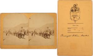 Rare 1879 stereoview of a freight wagon on Main Street in Bodie, California, matted and framed, photographed by Ramanzo Wood, a Santa Cruz landscape photographer (est. $1,000-$1,500).