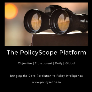 PolicyScope Platform logo; alternative data; conquer headline risk