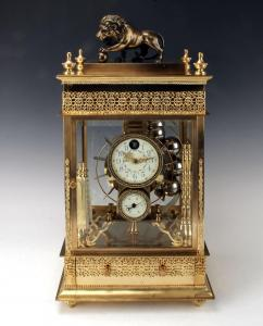 Rare 19th century French rolling ball waterwheel clock, almost identical to one in Palace Museum in the Forbidden City in Beijing, housed in a gilded bronze case (est. $3,000-$5,000).