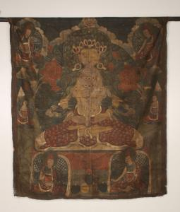Antique hand-painted thangka (Tibetan painting on cotton or silk appliqué, usually of a deity), 61 inches by 51 inches, showing a central Buddha figure in the lotus position (est. $400-$600).