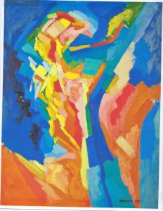 """The Message by Myron Barnstone, Spain 1965, Acrylic on paper, 19.5"""" x 26"""""""