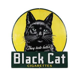 Black Cat Cigarettes porcelain sign (Canadian, 1940s), 50 ½ inches by 48 inches, one of the most attractive porcelain signs in Canadian advertising history (CA$10,516).