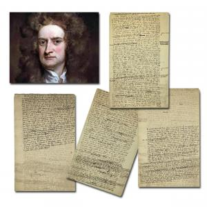 Four-page manuscript by the physicist Sir Isaac Newton consisting of nearly 2,300 words penned entirely in his hand around 1710, connecting metaphysics to physics (est. $130,000-$160,000).