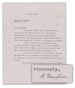 World War II-dated letter written in English and signed by Albert Einstein, in which he reveals that Nazi leaders didn't give much thought to his Theory of Relativity ($75,000-$80,000).