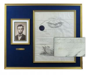 Military commission signed by Abraham Lincoln for a veteran officer of the Civil War battles of Fredericksburg, Chancellorsville, and Gettysburg, who died in May 1867 (est. $6,000-$7,000).