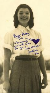 Jackie Kennedy, as a 16-year-old high school student at Miss Porter's School, has doodled a heart and dedicated a vintage black and white photo to a chum named Betty (est. $1,500-$1,700).