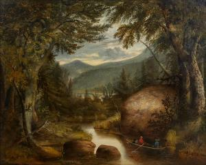 19th century oil on canvas Hudson River School painting titled View Between 6th & 7th Lake, John Brown Track (North Woods), Rockwell Pt., estimate $3,000-$5,000.