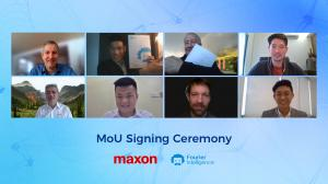 Virtual MOU signing between maxon and Fourier Intelligence. Top, left to right: Martin Zimmermann, Zen Koh, Eugen Elmiger, Owen Teoh; Bottom, left to right: Daniel Law, Tai Zhi Kang, Stefan Roschi, Jake Kee.