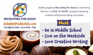Hiring Kids for The Sweetest Gigs to Eat Chocolate + Love Work + Play #kidsgetpaidtoeat #sweetestgigsforkids www.KidsGetPaidtoEat.com