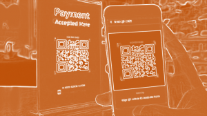 Artistic rendition of QR pay process