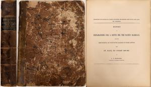 Important, monumental 12-volume railroad survey report published from 1855-1860, compiled to determine the best rail route from the Mississippi River to the Pacific Ocean ($3,125).