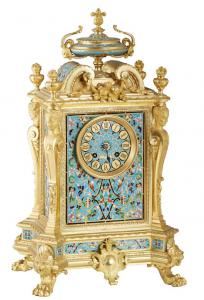 French Louis XV style gilt bronze and cloisonne mantel clock by Japy Freres, manufactured in the 20th century, 18 inches tall (est. $1,000-$2,000).