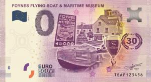 The commemorative 0 Euro souvenir banknote made for the Foynes museum by Euro Note Souvenir Limited in Headford, Co. Galway.