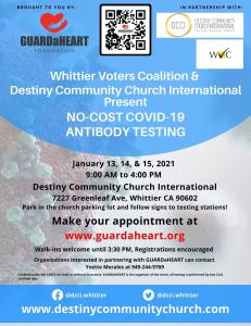 GUARDaHEART Partners with Whittier Voters Coalition and Destiny Community Church International to Offer No-Cost COVID-19 Antibody Testing