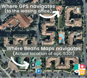 Drivers get 1000ft. closer to their delivery drop-off location with Beans Maps than if they use regular GPS.
