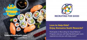 Participate in The Sweetest Referral Reward Program to Help Kids and Enjoy 12 Months of Sushi #12monthsofsushi www.12MonthsofSushi.com