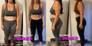 a side by side comparasion of one of Adam Grayston's  health and fitness transformation coach clients
