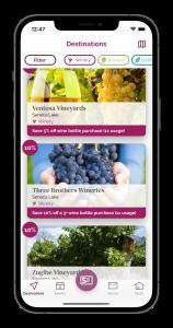 Routemotion - Wine Travel Card App Destinations Screen