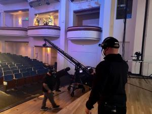 CEO Adam Paul filming trio for Tonight Show