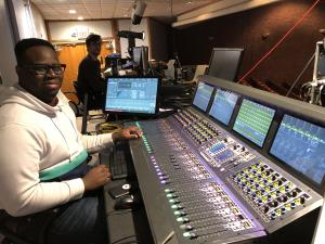 Five Towns College Audio Students and Mixing Board