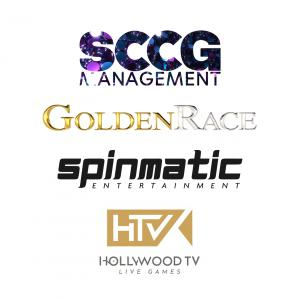 The logos for SCCG Management, Golden Race, Spinmatic and Hollywood TV