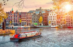 A river scene of Amsterdam in the Netherlands