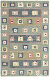 """VINTAGE SWEDISH KILIM ,""""GRON ANG """" signed 'AB MMF"""" , 5 ft 7 in x 8 ft 4 in"""