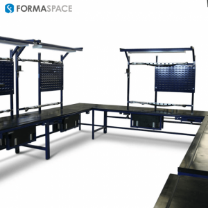 workbenches for an electronic manufacturing company with custom trays