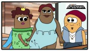 three animated potatoes dressed for runway fashion for show Project Spudway