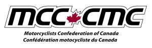 "Motorcyclists Confederation of Canada Logo, Black typography on white background, MCC  with Red Maple Leaf design followed by CMC. Type below reads ""Motorcyclists Confederation of Canada"" and ""Confédération motocycliste du Canada"""