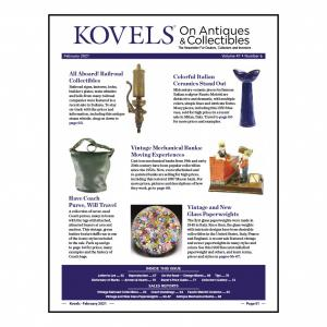 kovels, antiques, collectibles, railroad, melotti, paperweights, coach purse, midcentury pottery