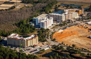 Overhead construction view of hotel development progress