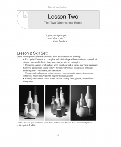 A sample page from the Barnstone Studios Introduction to Drawing & Design Workbook
