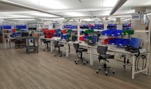 General Motors ventilator factory workbenches