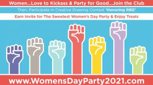 Participate in Creative Contest Draw RBG, most inspiring entries win invite for Women's Day Party for Good in Santa Monica #celebratingwomen #honoringrbg #positiveamericana www.WomensDayParty2021.com