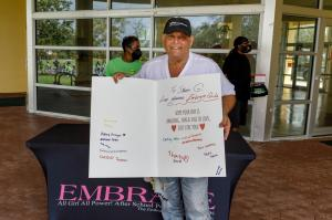 Celebrated Interior Designer Steven G tears up reading Embrace Girls thank you card.