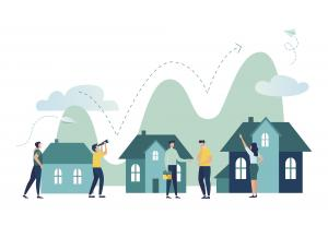 illustration of homes with people in front of it and arrow bouncing upwards