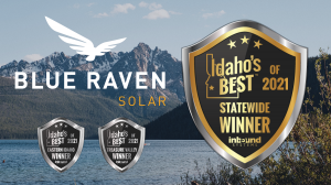 Photo of Idaho Mountain with Idaho's Best and Blue Raven Logos