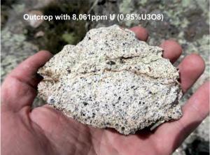 8,061 ppm (.95% U3O8) grab sample from Escalera project, Peru