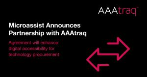 AAAtraq logo with words agreeement will enhance digital accessisibilty for technology purchasing and two arrows each pointing in the opposite direction