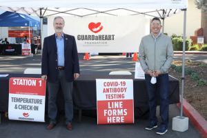 Dr. Douglas S. Harrington-  Chairman of GUARDaHEART Foundation and City Council Member Paul C. Hernandez at No Cost COVID-19 Antibody Test Event in December 2020