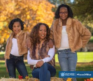 Image: photo of Doreen Hogan and her girls. Doreen is a colorectal cancer survivor and shared her story for the Colon Cancer Coalition's Faces of Blues story series. The image also includes the Colon Cancer Coalition logo and the hashtag #FacesOfBlue