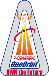Logo for Phoenix Rising Own the Future new talk from Astronaut Leroy Chiao, logo shape is a triangle with a Phoenix rising from an Astronaut logo.  Colors are vibrant red, orange, yellow and blue.