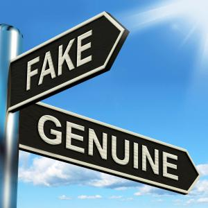 Traffic sign with two options: Fake or Genuine
