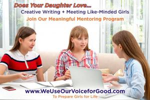We Use Our Voice for Good is a Meaningful Mentoring Program for Passion Creative Writing Middle School  Girls #weuseourvoiceforgood www.WeUseOurVoiceforGood.com