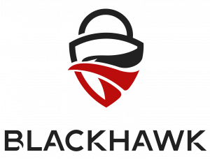 a red and black icon of a black hawk and a lock, logo of BlackhawkNest, makers of the Blackhawk Analytic Platform(TM)