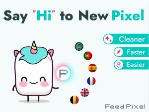 FeedPixel services are available in English, French, Spanish, German, Arabic, and Portuguese